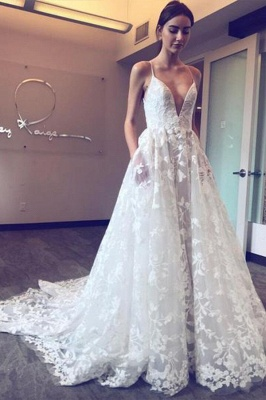 Elegant V Neck  White Wedding Dresses With Spaghetti Straps