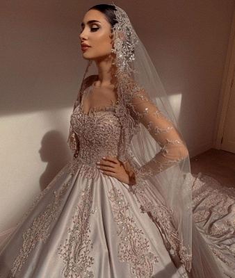Empire V Neck Satin Lace Crystal Ruffles Ball Gown Wedding Dresses_6