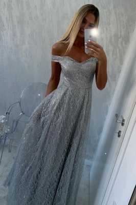 Women Silver Sequins Prom Dresses  Off The Shoulder_1