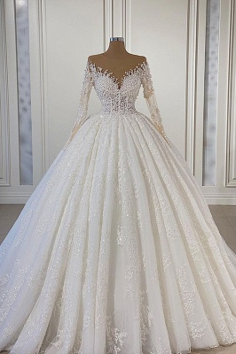 Gorgeous Strapless Lace Ball Gown Wedding Dress With Long Sleeves