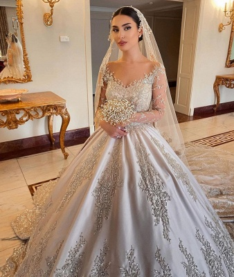 Empire V Neck Satin Lace Crystal Ruffles Ball Gown Wedding Dresses_5