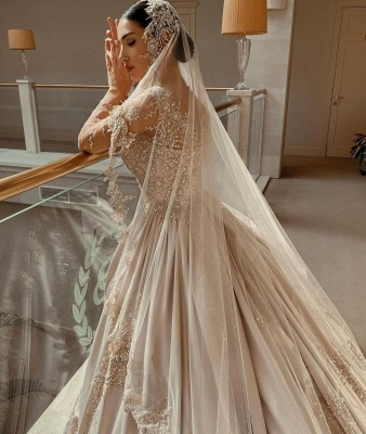 Empire V Neck Satin Lace Crystal Ruffles Ball Gown Wedding Dresses_3