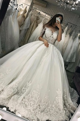Women Half Sleeves Lace White  Ball Gown Wedding Dress