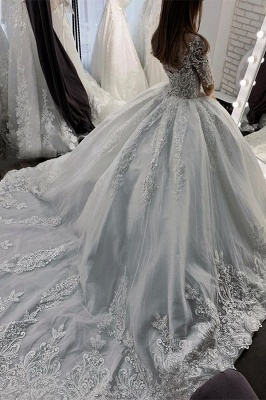 Women Half Sleeves Lace White  Ball Gown Wedding Dress_3