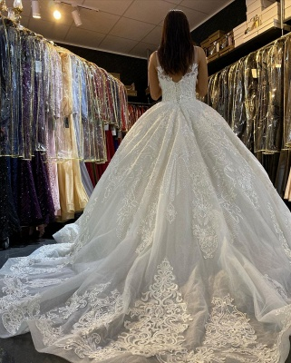 Gorgeous Sleeveless White Tulle Lace Ruffles Ball Gown Wedding Dresses_3