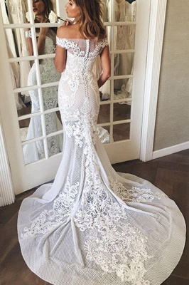 Gorgeous Off The Shoulder White Mermaid Wedding Dress Tulle_4