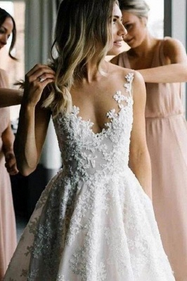 Women V Neck Sleeveless White Wedding Dresses With Lace Appliques_5