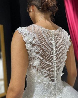 Eye-catching Off The Shoulder Lace Sweetheart White A-lIne Wedding Dresses_4