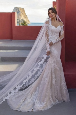Elegant Off The Shoulder Mermaid Wedding Dresses Long Sleeves
