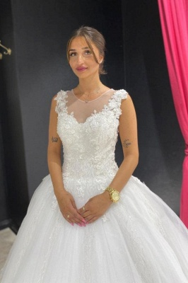 Eye-catching Off The Shoulder Lace Sweetheart White A-lIne Wedding Dresses_1