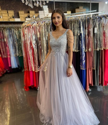 Women Sleeveless Silver Lace  A-Line Prom Dresses Long_2