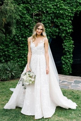Women V Neck Sleeveless White Wedding Dresses With Lace Appliques_6