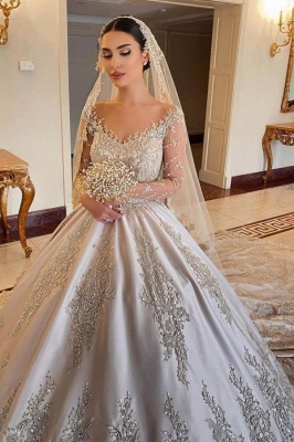 Empire V Neck Satin Lace Crystal Ruffles Ball Gown Wedding Dresses_1
