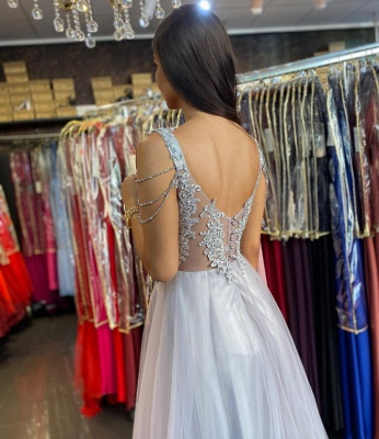 Women Sleeveless Silver Lace  A-Line Prom Dresses Long_3