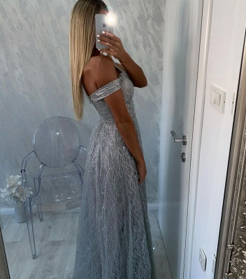 Women Silver Sequins Prom Dresses  Off The Shoulder_3