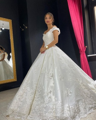 Eye-catching Off The Shoulder Lace Sweetheart White A-lIne Wedding Dresses_2