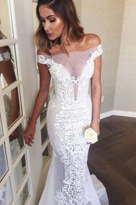 Gorgeous Off The Shoulder White Mermaid Wedding Dress Tulle