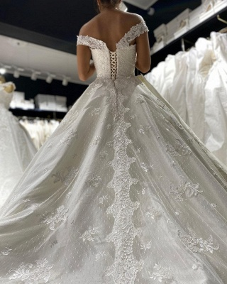 Eye-catching Off The Shoulder Lace Sweetheart White A-lIne Wedding Dresses_3