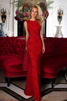 Luxury Sleeveless Red Lace Mermaid Prom Dress Long