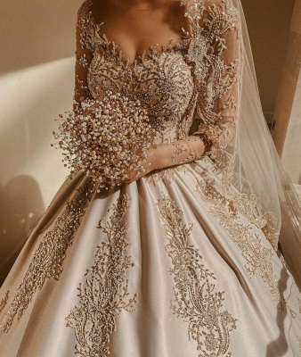 Empire V Neck Satin Lace Crystal Ruffles Ball Gown Wedding Dresses_4