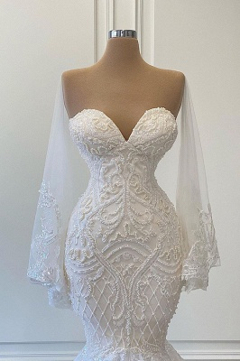 Sexy White Lace Mermaid Wedding Dresses Sweetheart_2