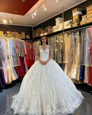 Gorgeous Sleeveless White Tulle Lace Ruffles Ball Gown Wedding Dresses_4