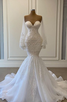 Sexy White Lace Mermaid Wedding Dresses Sweetheart_1