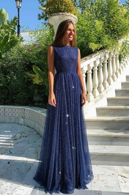 Elegant Dark Blue Sequins Prom Dress Long Sleeveless