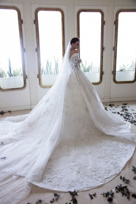 Graceful V Neck White Satin Long Sleeves Wedding Dresses With Lace Appliques_2