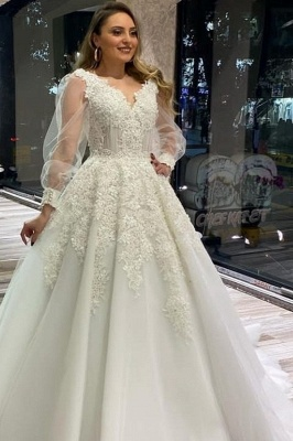 Elegant V Neck White Lace Wedding Dress Long