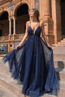 Sexy Deep V Neck Dark Blue Spaghetti Straps Prom Dresses Long