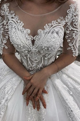 Women Half Sleeves Lace White  Ball Gown Wedding Dress_2