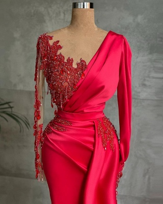 Chic Satin Long Sleeves Ruby Lace Appliques Ruffles Mermaid Prom Dresses_2