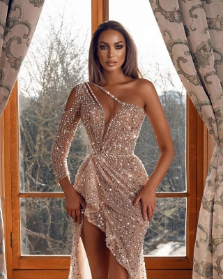Glittery One Shoulder Tulle Sequins Hilo Mermaid Prom Dresses_2
