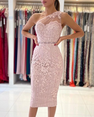One Shoulder Light Purple Mermaid Prom Dresses With Lace Appliques_5
