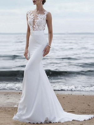 Polyester Sleeveless White Lace Buttons Mermaid Wedding Dresses