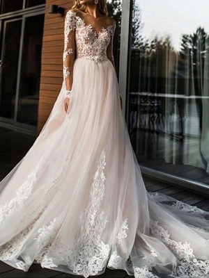 Gorgeous V Neck Backless Tulle Long Lace Wedding Dresses With Long Sleeves