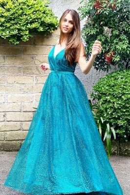 Vintage Sleeveless Peacock Blue Sequins A-Line Prom Dresses