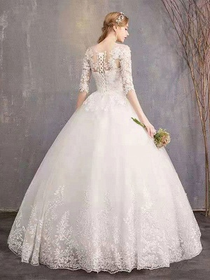 Luxury Half Sleeves Jewel Tulle Lace Appliques Ball Gown Wedding Dresses_2