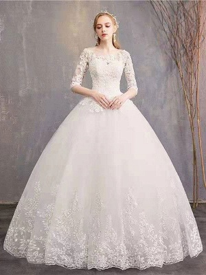 Luxury Half Sleeves Jewel Tulle Lace Appliques Ball Gown Wedding Dresses