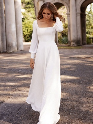 Chic White Satin Long Sleeves A-Line Wedding Dresses Long