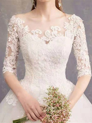 Luxury Half Sleeves Jewel Tulle Lace Appliques Ball Gown Wedding Dresses_6