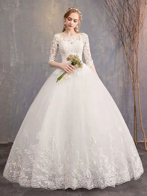 Luxury Half Sleeves Jewel Tulle Lace Appliques Ball Gown Wedding Dresses_5
