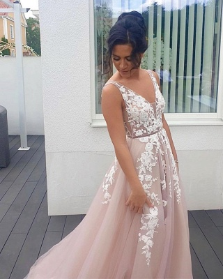 Sleeveless Tulle Lace V Neck Appliques A-Line Prom Dresses Long_2