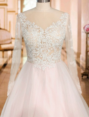 Gorgeous V Neck Backless Tulle Long Lace Wedding Dresses With Long Sleeves_6