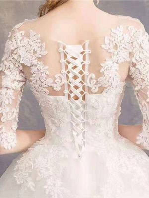 Luxury Half Sleeves Jewel Tulle Lace Appliques Ball Gown Wedding Dresses_8