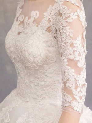 Luxury Half Sleeves Jewel Tulle Lace Appliques Ball Gown Wedding Dresses_7