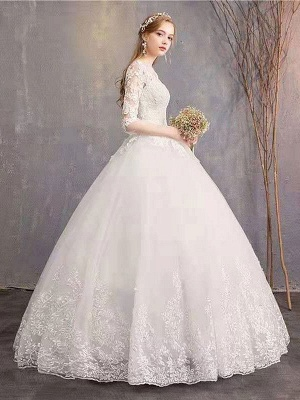 Luxury Half Sleeves Jewel Tulle Lace Appliques Ball Gown Wedding Dresses_3