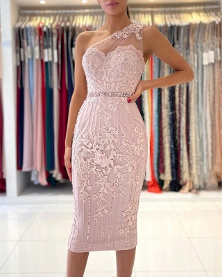 One Shoulder Light Purple Mermaid Prom Dresses With Lace Appliques_3