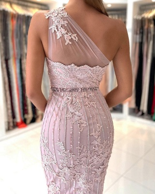One Shoulder Light Purple Mermaid Prom Dresses With Lace Appliques_4